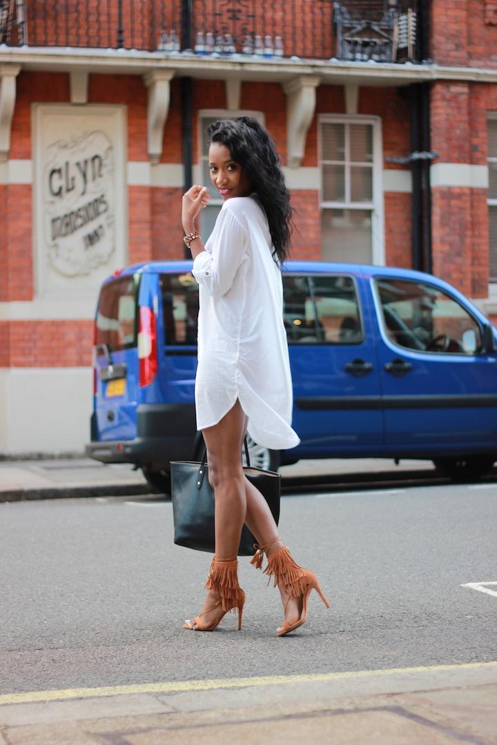 white shirt dress, hm shirt dress