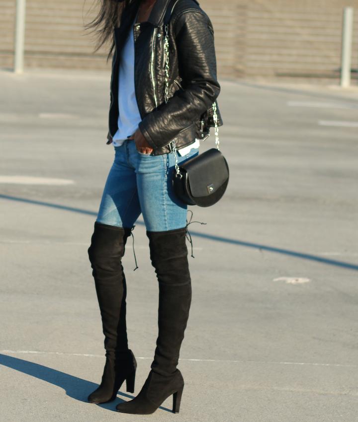 moto jacket and otk boots
